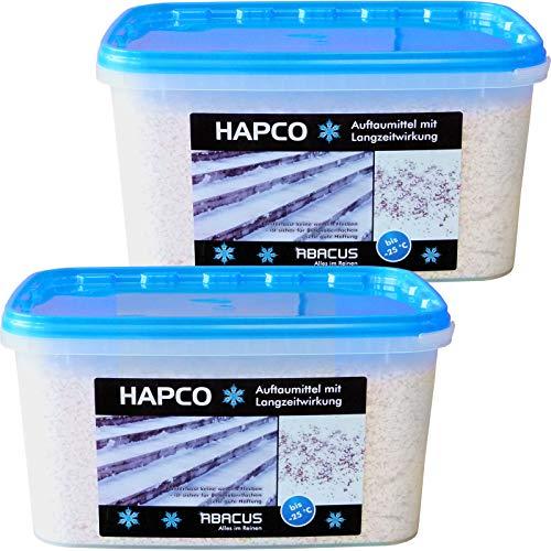 HAPCO 2er Set (2 x 5 kg) - Auftaumittel mit Langzeitwirkung - Schnee- und Eis weg - Auftaugranulat - Calciumchlorid Streugut Streusalz Auftaugranulat