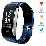 Hocent Fitness Tracker Activity Smart Bracelet Wristband with Pedometer Heart Rate Sleep Monitor Step Calorie Counter Waterproof IP67 Call SMS SNS Remind for Men Women Teen Compatible with Android IOS