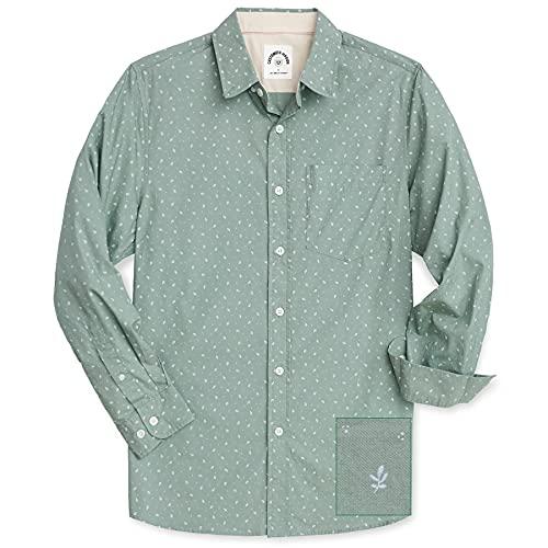 Dubinik Camisa de Manga Larga de Algodón a Cuadros Casual con Bolsillos para Hombre