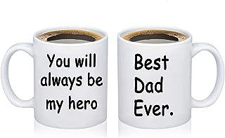 HOLLP Father's Day Mug for Dad Best Dad Ever Coffee Mug New Dad Mug You Will Always Be My Hero Dad Mug Tea Cup (12 Oz)