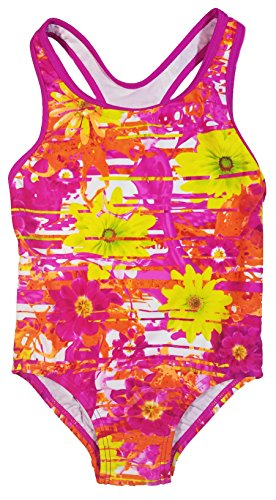 Speedo Big Girls' Solid Infinity Splice One Piece Swimsuit (16, Pink Orange Flower)