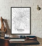 ZWXDMY Leinwand Bild,Uganda Kampala City Map Schwarze Und