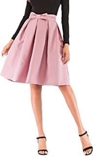 Womens 50s Vintage Skirt Knee Length High Waist Pleated Midi Bow Skirts