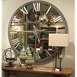 My Swanky Home XL 60 Mirrored Round Wall Clock | Oversize Modern Mirror Glass