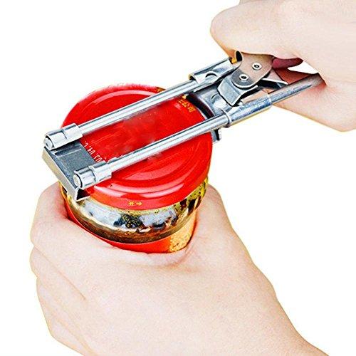 Verstellbarer Dosenöffner, Aolvo multifunktionaler Dosenöffner – ergonomisch geformter Edelstahl-Dosenöffner, öffnet leicht Gläser und Flaschendeckel – B-Stil