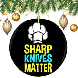 None-Brands 2020 Christmas Tree Decor Round Christmas Ornaments Sharp Knives Matter Ceramic Decorative Xmas Hanging Ornament Keepsake