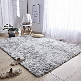 Noahas Abstract Shaggy Rug for Bedroom Ultra Soft Fluffy Carpets for Kids Nursery, 4 ft x 6 ft, Light Grey