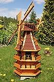 Deko-Shop-Hannusch Windmühle 3 stöckig kugelgelagert 1,40 m Bitum rot mit Beleuchtung Solar,...
