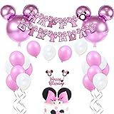 JOYMEMO Décorations d'anniversaire Minnie Mouse pour Filles Rose avec Ballons de Minnie Mouse, Bannière de Joyeux Anniversaire et Cake Topper