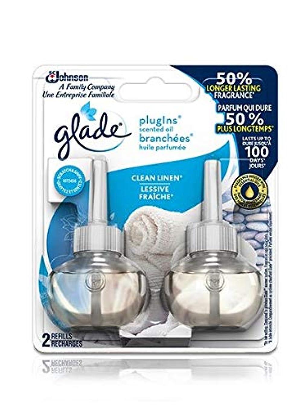 周りマイクロ生き残り【glade/グレード】 プラグインオイル 詰替え用リフィル(2個入り) クリーンリネン Glade Plugins Scented Oil Clean Linen 2 refills 1.34oz(39.6ml) [並行輸入品]