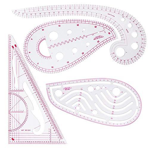 Reglas métricas francesas de plástico en forma de curva para costura y diseño de patrón de costura, múltiples finalidades (4 unidades)