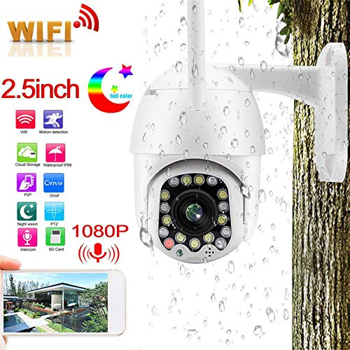 PTZ WiFi IP-camera, 1080P wireless security dome-camera met 17 ledlampen binnen- en buitencamera voor ONVIF met IR-Cut nachtzicht, IP65 weerbestendig, 2-weg audio/bewegingsdetectie 1080p-32 GB.