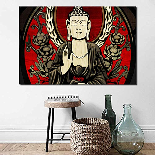 Fenfei Trippy Abstract Buddha Wallpapers Canvas Painting Print Living Room Home Decor Modern Wall Art Oil Painting Poster Salon Picture 60cm x90cm No Frame