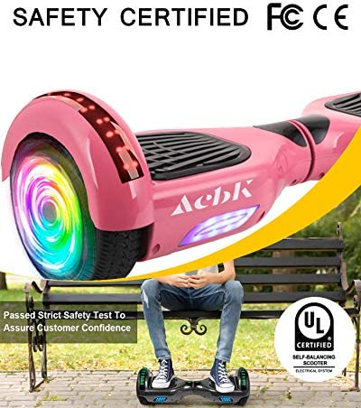"""ACBK Bluetooth UL2272 Hoverboard + Chaise Kart Jeunesse Unisexe Rose Roue LED 6.5"""""""