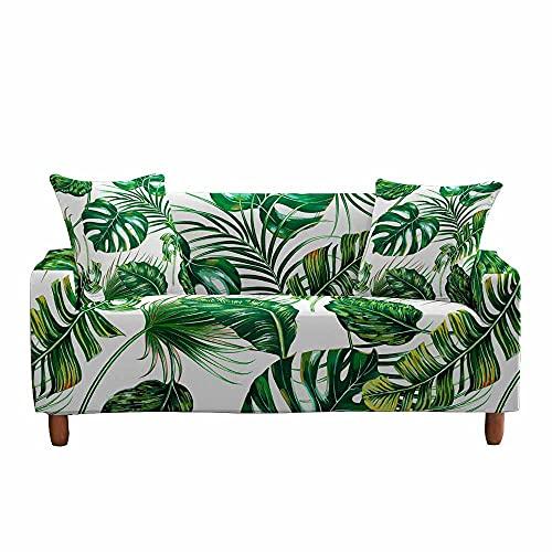Fansu Funda de Sofá Elástica para Sofá de 1 2 3 4 Plazas, Ajustable Patrón de Hoja de Planta Tropical 3D Cubre Sofa, Antisuciedad Antideslizante Protector de Muebles (Hoja Verde,3 plazas)