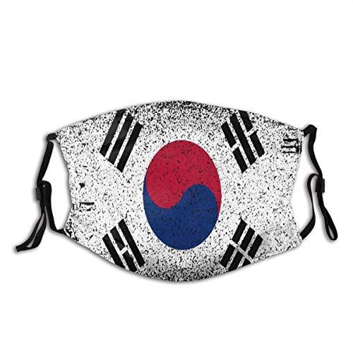 Mundschutz Südkorea Grunge Flag Unisex Waschbarer und wiederverwendbarer Gesichtsschal für den Außenbereich