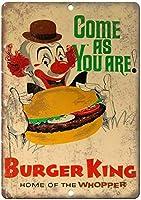 2個 バーガーキングホームオブザホッパーピエロ広告カスタムメタルティンサインエイジドルッキングサインホームハウスコーヒービールドリンクバー8x12インチ