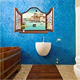 Qwerlp Vista De La Ventana 3D Etiqueta De La Pared Mickey Carol Europa Building Set Venecia Pegatinas Living Room Background Decor Mural Decal Wallpaper