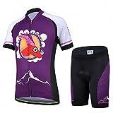 Ateid Maillot de Ciclismo y Pantalones Cortos para Niños Morado M 4-5 Años