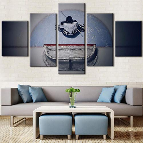 WUZHIXIN 5 Piezas Material Cuadros Impresión Cuadros de Arte de Pared Lienzo Moderno HD Impreso 5 Paneles Hockey sobre Hielo Portero decoración del hogar Pinturas Carteles modulares