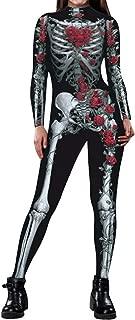 Women Halloween Costume Skeleton Print Bodycon Catsuit Jumpsuit