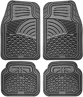Motorup America Auto Floor Mats (4-Piece Set) All Season Rubber - Fits Select Vehicles Car Truck Van SUV, Gray