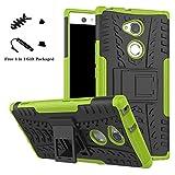 liushan sony xa2 ultra custodia, protettiva shockproof rigida dual layer resistente agli urti con cavalletto caso per sony xperia xa2 ultra smartphone(con 4in1 regalo impacchettato),verde