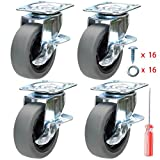 DICASAL 3 Inch Durable Heavy Duty Plate Casters Wear Resistant Swivel Wheels Castors for Furniture Carts and...