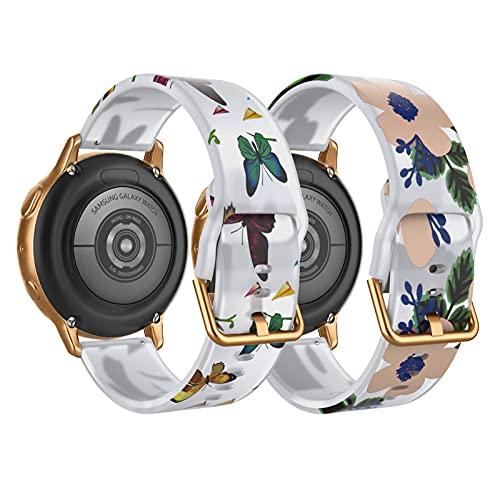 TiMOVO 2PCS Pulseras de Repuesto del Reloj Compatible con Samsung Galaxy Watch Active 2/Active/Galaxy Watch 3 41mm/Watch 42mm,Correa Traslúcida de Silicona con Estampado Floral,Mariposas/Flores Azules