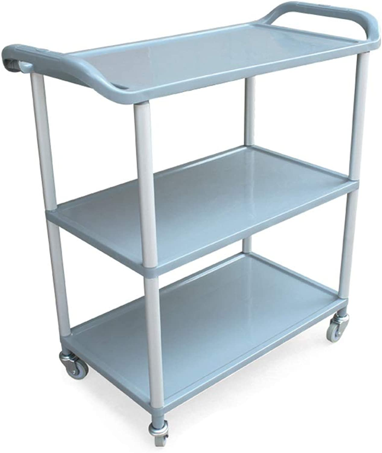 Restaurant Trolley, Plastic Dining Car Restaurant Bowl Collection Station Vegetable Seasoning Shelf, 3 Layers, with Universal Pulley, (LxWxH) 58.8x34.5x74.7cm