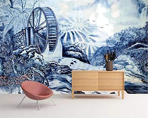 Papel Pintado Murales Personalizar 4D Decoración Pared,Chino De Porcelana Azul Y Blanco Pintado A Mano Carro Agua Paisaje Fondo De Pantalla De Tv Para Dormitorio Salón Comedor Papel Tapiz-72In×112I