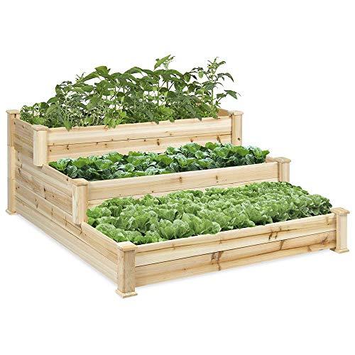 Raised Beds for Garden Vegetables, 3-layer Stereo Combination Raised Vegetable Planter Overhead Antiseptic Wood Veg Trug Raised Planter Used in Herbal Flowers Plants and Vegetables