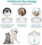E-MANIS Fontaine pour Chat Chien,Fontaine à Eau pour Chat et Chien Fleur avec Filtre et LED Lumineuse,2.4L Fontaine de Filtre Silencieuse Pompe à Eau Distributeur de l'eau Recyclable pour Animaux #3