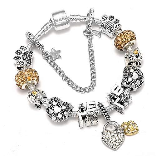 shangwang Women's Fashion Dream Catcher Feather Charm Bracelet For Men Men Original Crystal Flower Love Beaded Bracelet Gift SL282