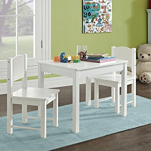 G4RCE HYGRAD. Childrens Kids Wooden White Table and 2 Chairs Nursery Sets Indoor Use Unisex Best Gift For Birthday Xmas (White Table & Chair)