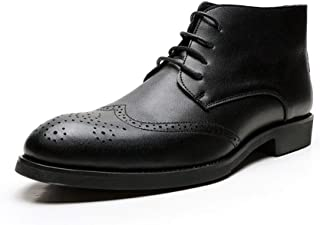Xiang Ye Combat Boots for Men Ankle Shoes Lace Up Style Microfiber Leather Wingtip Brogue Carving Breathable Cushioning Soles Anti Slip Height Taller (Color : Black, Size : 8 UK)