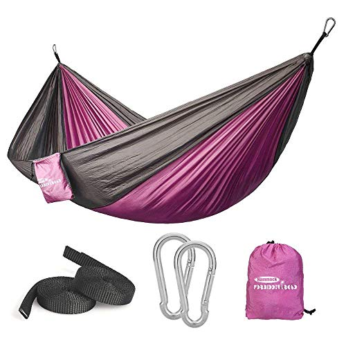 Forbidden Road Hammock Single Double Camping Lightweight Portable Hammock for Outdoor Hiking Travel Backpacking - Nylon Hammock Swing - Support 400lbs Ropes Carabineers 11 Colors (Pink Grey)