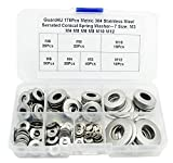 Guard4U 175Pcs Metric 304 Stainless Steel Serrated Conical Spring Washer/Conical knurled Spring Washer/Belleville Washer Assortment Kit- 7 Size: M3 M4 M5 M6 M8 M10 M12