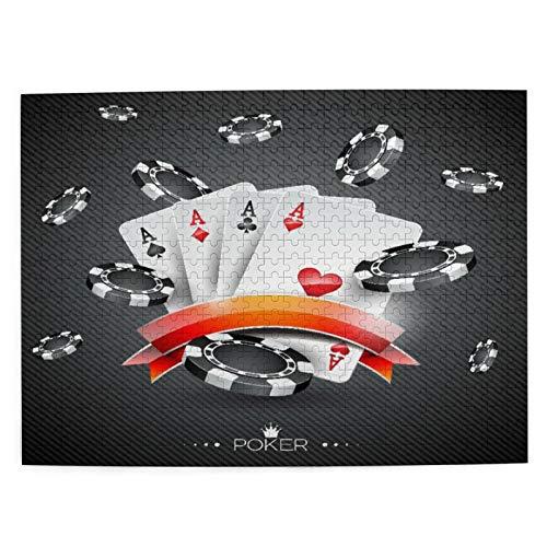 CVSANALA Rompecabezas con Imágenes 500 Piezas,Exhibición artística Spread Chips con Poker Cards Lifestyle,Educativo Juego Familiar Arte de Pared Regalo para Adultos,Adolescentes,Niños,20.4' x 15'