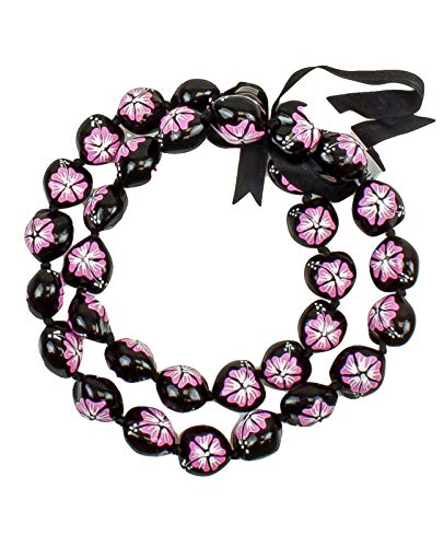 Hawaiian Kukui Nut Leis Beads Necklaces with Hand Painted Flower Adjustable 32 inches Lei for Men and Women (Pink Flower)