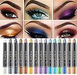 DINNIWIKL Glitter Eyeshadow Stick, Shimmer Shiny Eyeshadow Pencil, Pearl Eyeshadow Pen Set, Smooth Long Lasting Waterproof Eye Shadow Stick