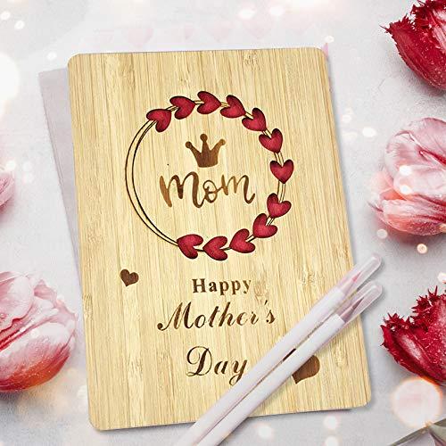Regalo Dia de la Madre,Tarjeta dia de la Madre Madera Regalos Originales Para Mujer,El mejor regalo para mamá,15 x 11 cm Con Sobre