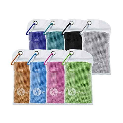 """U-pick 8 Packs Cooling Towel (40""""x 12""""), Ice Towel,Microfiber Towel,Soft Breathable Chilly Towel for Yoga,Sport,Gym,Workout,Camping,Fitness,Running,Workout&More Activities (8 Color Collection)"""