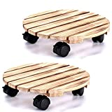 CuffUp Plant Caddy Wood Rolling Outdoor Plant Stand with Lockable Wheels Planter Stand for Indoor Plants(2PCS)