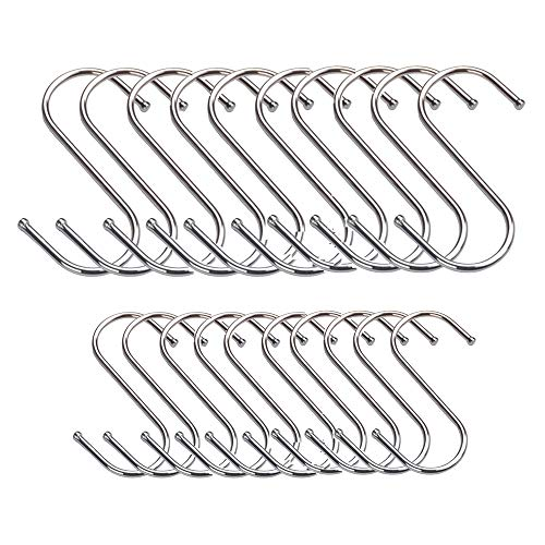 Lezed 20 Ganchos Colgantes en Forma de S Perchas de Metal de Acero Inoxidable S en Forma de Gancho Colgante de Metal Cubierto Ganchos Multifuncionales de Acero Inoxidable Forma de S Ganchos