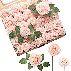 DerBlue Artificial Flowers Rose 60pcs Real Looking Fake Rose and 10pcs Leaves for for DIY Wedding Bouquets Centerpieces Arrangements Party Baby Shower Home Decorations