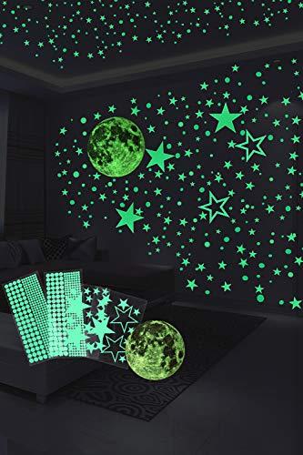 Hocaies Pegatinas de Estrellas Fluorescentes Luminoso Pegatinas de Pared Luna Pegatinas de Pared, DIY Fluorescentes Decoración de la Habitación Para Chico Niña.