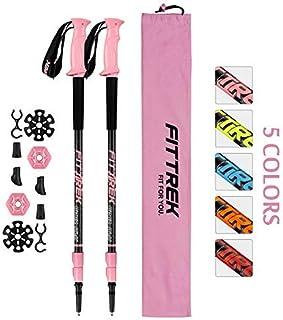 comprar comparacion FitTrek Bastones Trekking Carbono - Bastones de Senderismo - Palos Trekking - Palos Senderismo - Bastones Marcha Nordica T...
