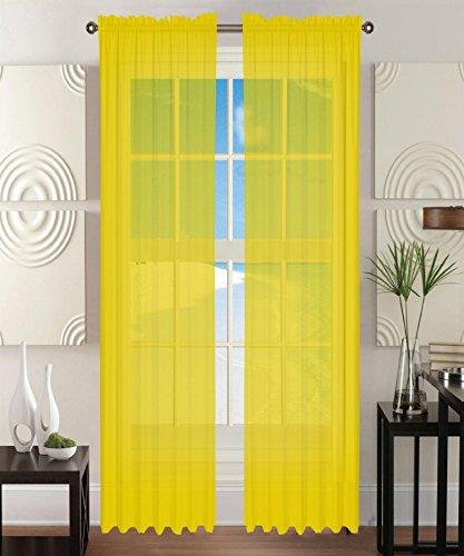 Elegant Comfort 2-Piece Sheer Window Curtain/Panel with 2' Rod Pocket - Window Curtains 60' w X 84' Length - Neon Yellow