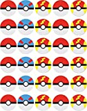 30 x Edible Cupcake Toppers Themed of Pokemon Pokeball Collection of Edible Cake Decorations | Uncut Edible on Wafer Sheet